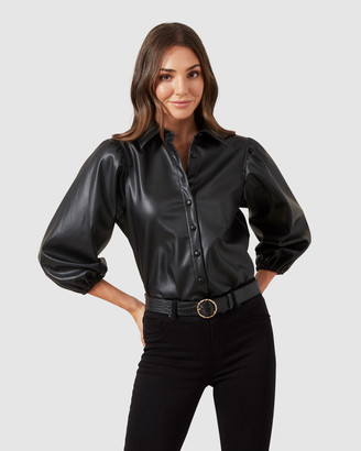 French Connection Faux Leather Puff Sleeve Shirt