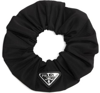 Prada Triangle Logo-plaque Nylon-gabardine Scrunchie - Black