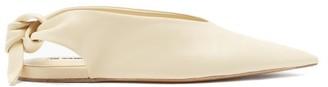 Jil Sander Point-toe Slingback Leather Flats - Cream