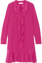 Tory Burch Jane Ruffled Silk Crepe De Chine Dress - Magenta