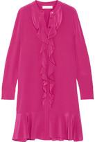 Tory Burch Jane Ruffled Silk Crepe De Chine Dress - Red