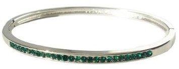 Silver Hinged Bangle Bracelet - Emerald