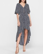 Express Printed Flutter Sleeve Hi-Lo Maxi Dress