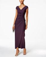 Alex Evenings Ruched Faux-Wrap Gown