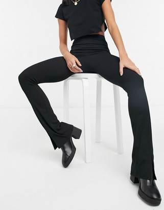 Topshop split front flared trousers in black