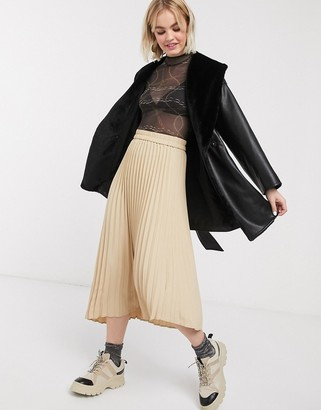 Monki pleated midi skirt in beige