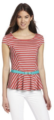 Amy Byer A. Byer Juniors Striped Ponte Knit Top With Belt