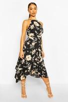boohoo High Neck Ruffle Floral Midi Dress