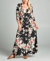 Tua Black & Mauve Floral Surplice Maxi Dress - Plus