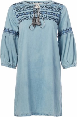 Grace in LA Women's Embroidered Denim Shirt Dress