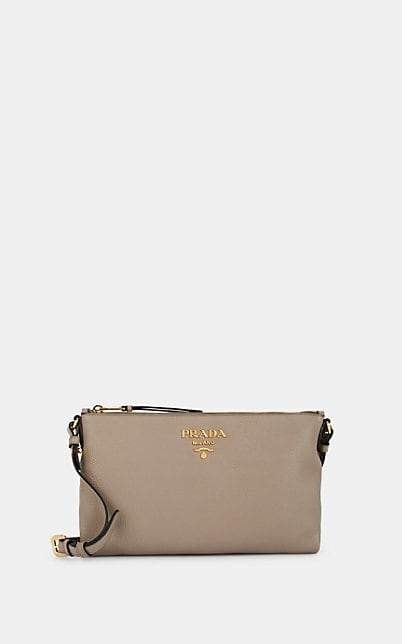 Prada Women's Daino Leather Crossbody Bag - Light Gray