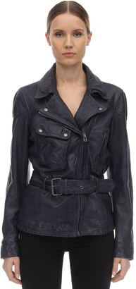 Belstaff Belted Leather Biker Jacket