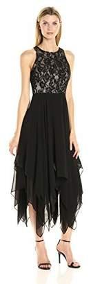 Aidan Mattox Aidan Women's Cocktail Dress with Lace Halter Top and Hanky Hem Skirt Detail