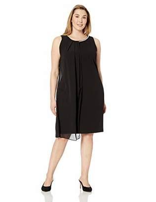 SL Fashions Women's Plus Size Envelope Hem Pleat Front Dress
