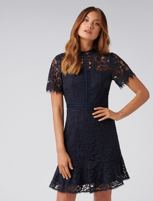 Forever New Daphne Lace Short Sleeve Dress - Navy - 4