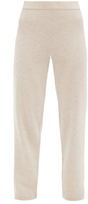Allude Elasticated-waist Cashmere Straight-leg Trousers - Beige