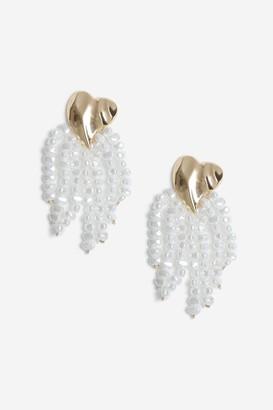 Topshop Womens **Gold Heart Pearl Drop Earrings - Cream