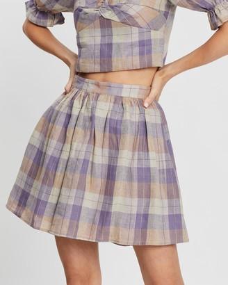 Aere Pleated Linen Mini Skirt