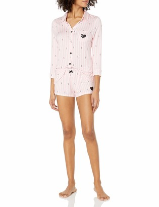 Betsey Johnson Women's Knit Notch Collar Short Set
