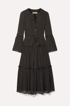 MICHAEL Michael Kors Tiered Polka-dot Chiffon Midi Dress - Black