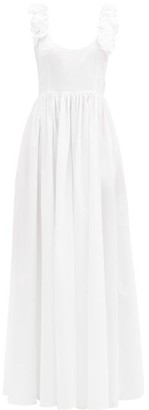 Brock Collection Rosalia Rose-applique Cotton-poplin Dress - White