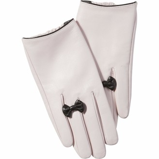 Tickled Pink Women's Petite Bow Leather Gloves