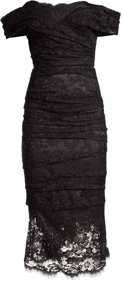 Dolce & Gabbana Chantilly lace off-the-shoulder midi dress
