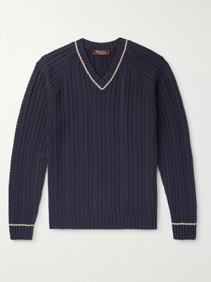 Loro Piana Striped Cable-Knit Cotton And Silk-Blend Sweater