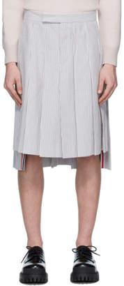 Thom Browne White and Grey Seersucker Backstrap Knee-Length Skirt