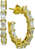 Giani Bernini Cubic Zirconia Baguette Hoop Earrings in 18k Gold-Plated Sterling Silver, Only at Macy's