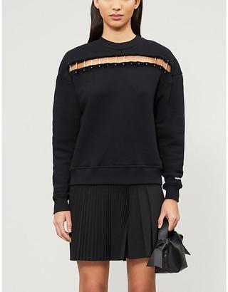 The Kooples Sport Pinned panel cotton-jersey sweatshirt