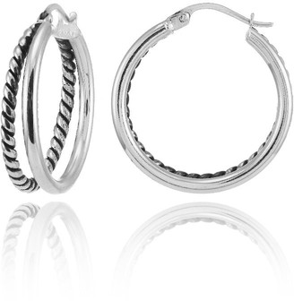 Mondevio Oxidized and Polished Rope Double Round Fashion Hoop Earrings in Sterling Silver