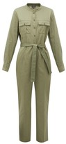 A.P.C. Eleonore Mandarin-collar Cotton Jumpsuit - Womens - Khaki