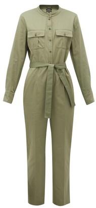 A.P.C. Eleonore Mandarin-collar Cotton Jumpsuit - Khaki