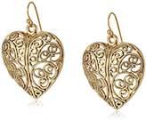 1928 Jewelry Gold-Tone Puffed Filligree Heart Earrings