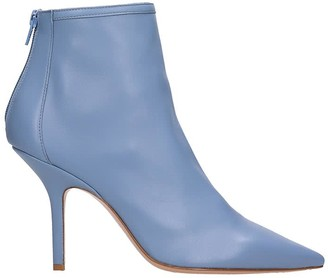 ANNA F. High Heels Ankle Boots In Cyan Leather