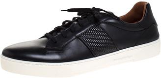 Ermenegildo Zegna Black Leather Woven Detail Vittorio Lace Up Sneakers Size 44