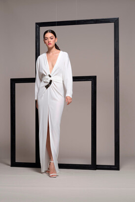 Isabel Sanchis Long Sleeve Slim Skirting with Slit Evening Gown