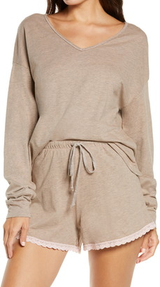 Project Social T Crush on You Lace Trim Shorts Pajamas