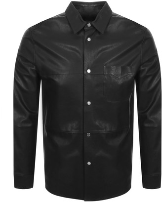 HUGO Lorean Leather Jacket Black