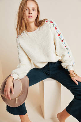 Maeve Hollie Embroidered Sherpa Pullover
