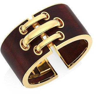 David Webb Woodworks 18K Yellow Gold & Cocobolo Shoelace Cuff Bracelet