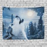 JSTEL Home Fashion Custom Wolf Forest Tree Night Moon Tapestry Wall Decor Living Room, Throw Bedspread, Dorm Tapestries DIY
