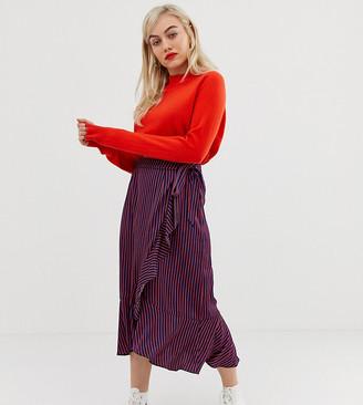 Glamorous Petite wrap midi skirt in satin stripe