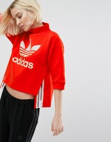 adidas Paris Red High Neck Cropped Sweatshirt With Sheer Panels