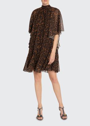 Erdem Elviretta Leopard-Print Chiffon Flutter-Sleeve Dress