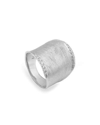 Marco Bicego Lunaria Wide Diamond Ring in 18K White Gold, Size 7
