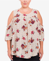 Eyeshadow Trendy Plus Size Printed Cold-Shoulder Peasant Top