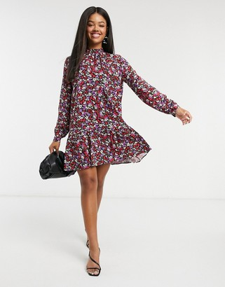 Stradivarius high neck collar detail dress in floral