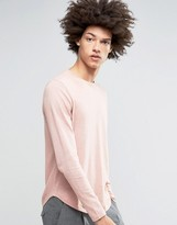 Asos Cotton Sweater with Curved Hem in Pink